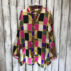 80s Vintage Color block Long Sleeve Button Up 2X
